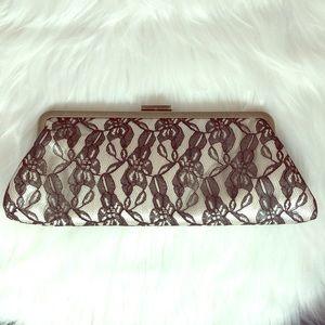 Jessica McClintock Black Lace White Clutch Chain